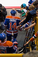 KELOWNA, CANADA - OCTOBER 2: Jordan Eberle #14 of the Edmonton Oilers enters the ice against Los Angeles Kings on October 2, 2016 at Kal Tire Place in Vernon, British Columbia, Canada.  (Photo by Marissa Baecker/Shoot the Breeze)  *** Local Caption *** \h14##\;