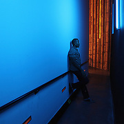 Austin Willacy waits backstage prior to a performance at Freight & Salvage Coffeehouse on Saturday Dec. 1, 2012 in Berkeley, California.  The House Jacks is a professional a cappella quintet from the Bay Area, founded in 1991.  (AP Photo/Alex Menendez)