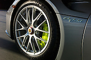Close-up detail of a 2015 Porsche 918 Hybrid automobile wheel, Bellevue, Washington, Pacific Northwest