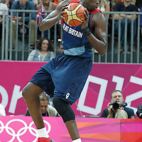 02 August 2012: Great Britain Luol Deng is seen during 79-78 Team Spain victory over Team Great Britain, during the men's basketball preliminary, at the Basketball Arena, in London, Great Britain.