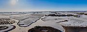 Nederland, Noord-Holland, Driehuizen; 22-02-2021; Eilandspolder. De eerste schaatsers van de winter op het ijs. Natuurijs.The first skaters of winter on the ice. Natural ice.<br /> <br /> drone-opname (luchtopname, toeslag op standaard tarieven);<br /> drone recording (aerial, additional fee required);<br /> copyright foto/photo Siebe Swart