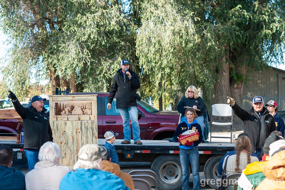 Chris, Tyson Baker, Sam Baker. Vale FFA Harvest Auction in Vale, Oregon on October 12, 2019.<br /> <br /> Baker Auction Co. has been the auctioneers for this event since it started 27 years ago.