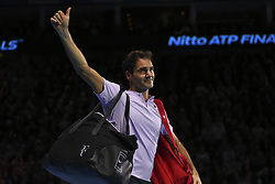 November 18, 2017 - London, England, United Kingdom - Roger Federer of Switzerland gives the thumbs up to the fans after being defeated by David Goffin of Belgium in their semi-final match today - Goffin def Federer 2-6, 6-3, 6-4 at O2 Arena on November 18, 2017 in London, England. (Credit Image: © Alberto Pezzali/NurPhoto via ZUMA Press)