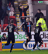 Steve Davies (centre) of Blackpool celebrates his equalising goall during the Sky Bet Championship match at the New York Stadium, Rotherham<br /> Picture by Graham Crowther/Focus Images Ltd +44 7763 140036<br /> 29/11/2014