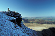 Corn du Brecon Beacons National Park, South Wales, UK with climbers/hikers at peak