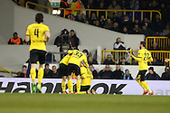 Pierre-Emerick Aubameyang of Borussia Dortmund celebrates with teammates after scoring his sides 1st goal to make it 0-1 on the night. UEFA Europa League round of 16, 2nd leg match, Tottenham Hotspur v Borussia Dortmund at White Hart Lane in London on Thursday 17th March 2016<br /> pic by John Patrick Fletcher, Andrew Orchard sports photography.