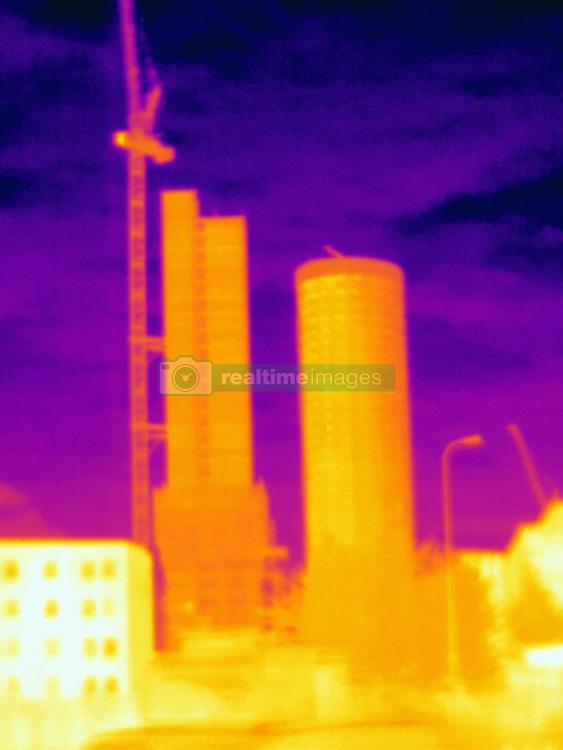 April 24, 2017 - Thermal photograph of skyscrapers and construction crane, London, UK (Credit Image: © Image Source via ZUMA Press)