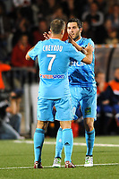 FOOTBALL - FRENCH CHAMPIONSHIP 2010/2011 - L1 - FC LORIENT v OLYMPIQUE MARSEILLE - 15/05/2011 - PHOTO PASCAL ALLEE / DPPI - JOY ANDRE-PIERRE GIGNAC (OM) AFTER HIS GOAL. HE IS CONGRATULATED BY BENOIT CHEYROU