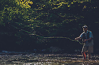 Sam Dean   The Roanoke Times<br /> 5/5/10--Roanoke Times Outdoors Editor Mark  Taylor casts for brown and rainbow trout in White Top Laurel creek.