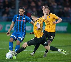 Ollie Clarke of Bristol Rovers (C) tackles Rekeil Pyke of Rochdale (L) - Mandatory by-line: Jack Phillips/JMP - 02/11/2019 - FOOTBALL - Crown Oil Arena - Rochdale, England - Rochdale v Bristol Rovers - English Football League One