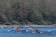 Mortlake/Chiswick, GREATER LONDON. United Kingdom. General View as the thee crews pass Chisick Bridge in the closing stages of the 2017 Vesta Veterans Head of the River Race, The Championship Course, Putney to Mortlake on the River Thames.<br /> <br /> <br /> Sunday  26/03/2017<br /> <br /> [Mandatory Credit; Peter SPURRIER/Intersport Images]