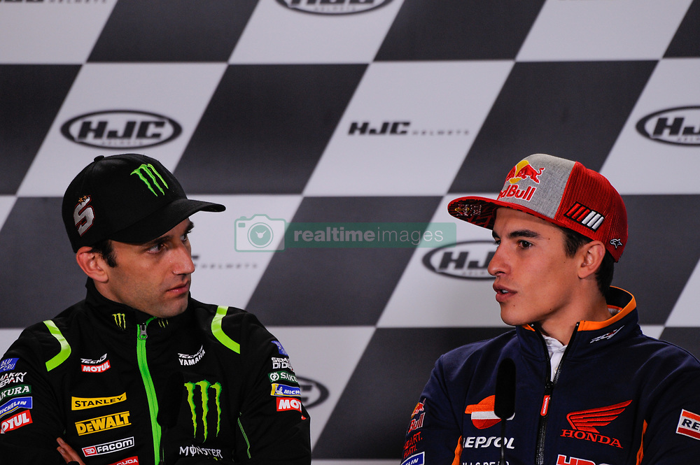 May 17, 2018 - Le Mans, France, France - Johann Zarco and Marc Marquez attends a press conference of France MotoGP at Circuit Bugatti Le Mans. (Credit Image: © Gaetano Piazzolla/Pacific Press via ZUMA Wire)