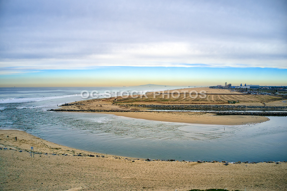 Santa Ana River Flowing into the Pacific Ocean Between Newport and Huntington Beach