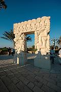 Carved stone doorway Hapisga Park Jaffa Israel