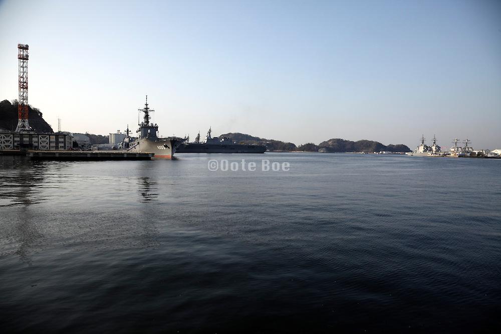Japanese maritime self defense force ships in port Yokosuka