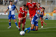 Accrington Stanley midfielder Sam Finley tackles Bristol Rovers defender Luke Leahy during the EFL Sky Bet League 1 match between Bristol Rovers and Accrington Stanley at the Memorial Stadium, Bristol, England on 7 September 2019.