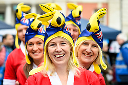© Licensed to London News Pictures. 07/12/2019. LONDON, UK.  7 December 2019.  Participants, wearing costumes with an Australian theme, prepare to take part in The 39th Great Christmas Pudding Race in Covent Garden, raising funds for Cancer Research as well as having lots of festive fun.  Photo credit: Stephen Chung/LNP