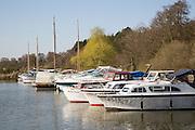 Leisure boats on the Norfolk Broads, Somerleyton marina, near Lowestoft, Suffolk, England, UK