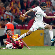 Galatasaray's Albert Riera ORTEGA (L) during their Turkish Super League soccer match Galatasaray between Eskisehirspor at the TT Arena at Seyrantepe in Istanbul Turkey on Monday, 26 September 2011. Photo by TURKPIX
