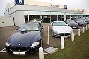 Maserati cars on dealership forecourt