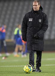 Cheftræner Morten Eskesen (FC Helsingør) før kampen i 1. Division mellem Fremad Amager og FC Helsingør den 21. oktober 2020 i Sundby Idrætspark (Foto: Claus Birch).