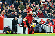 Dejan Lovren of Liverpool in action. Premier League match, Liverpool v Leicester City at the Anfield stadium in Liverpool, Merseyside on Saturday 30th December 2017.<br /> pic by Chris Stading, Andrew Orchard sports photography.