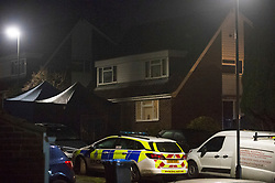 ©Licensed to London News Pictures 22/12/2019. <br /> Crawley Down ,UK. Police forensic tents. Two people are dead and a third is fighting for life after a knife attack on a housing estate in Crawley Down, West Sussex Photo credit: Grant Falvey/LNP