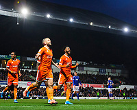 Blackpool's Jay Spearing, centre, celebrates scoring his side's second goal with team-mate Joe Nuttall<br /> <br /> Photographer Chris Vaughan/CameraSport<br /> <br /> The EFL Sky Bet League One - Ipswich Town v Blackpool - Saturday 23rd November 2019 - Portman Road - Ipswich<br /> <br /> World Copyright © 2019 CameraSport. All rights reserved. 43 Linden Ave. Countesthorpe. Leicester. England. LE8 5PG - Tel: +44 (0) 116 277 4147 - admin@camerasport.com - www.camerasport.com