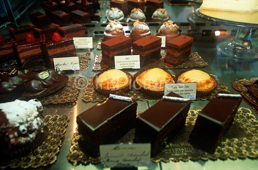 A detail of delicious chocolate cakes, tartes and varuous other patisseries in the window of Parisian pattisier, Jean-Paul Hevan on the Rue de la Motte Piquet, on 26th April 2008, in Paris, France.