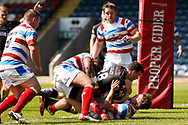 Bradford Bulls stand off Jordan Lilley (28) is held up in goal  during the Kingstone Press Championship match between Rochdale Hornets and Bradford Bulls at Spotland, Rochdale, England on 18 June 2017. Photo by Simon Davies.