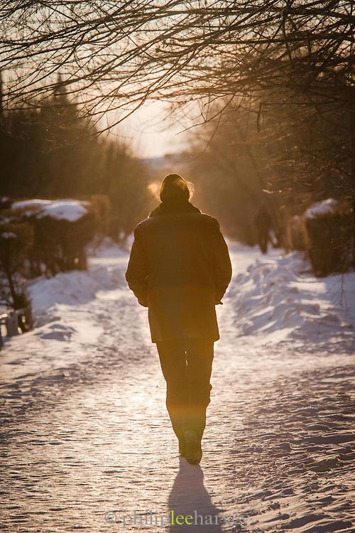 Man walking Komsomolsk-na-Amure.Siberia, Russia