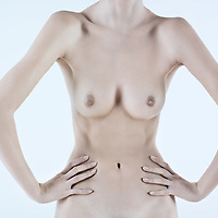 detail of chest anorexic woman