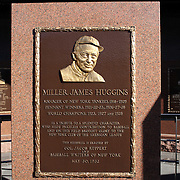 The Miller James Higgins plaque at Monument Park, an open-air museum located at the new Yankee Stadium containing a collection of monuments, plaques, and retired numbers honoring distinguished members of the New York Yankees. New York, USA. Photo Tim Clayton