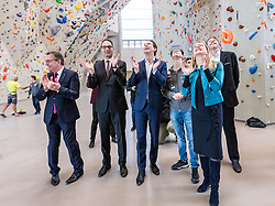 18.02.2020, Kletterzentrum, Innsbruck, AUT, Medientermin zum Thema Lehre, Pressekonferenz, im Bild v.l. Landeshauptmann Günther Platter (ÖVP), WKO Tirol Präsident Christoph Walser, Bundeskanzler Sebastian Kurz (ÖVP), Jakob Schubert, Wirtschaftsministerin Margarete Schramböck (ÖVP), Präsident der Wirtschaftskammer Österreich Harald Mahrer // # during a Pressconference about the apprenticeship at the Kletterzentrum in Innsbruck, Austria on 2020/02/18. EXPA Pictures © 2020, PhotoCredit: EXPA/ Johann Groder