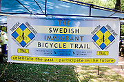 Booth promoting Swedish Immigrant Bicycle Trail. Svenskarnas Dag Swedish Heritage Day Minnehaha Park Minneapolis Minnesota USA