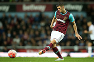 Aaron Cresswell of West Ham United in action/. The Emirates FA cup, 6th round replay match, West Ham Utd v Manchester Utd at the Boleyn Ground, Upton Park  in London on Wednesday 13th April 2016.<br /> pic by John Patrick Fletcher, Andrew Orchard sports photography.