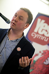 20-02-16. Cardiff, Wales,  UK. Launch Rally of YesCymru :a new cross-party grass-roots movement advocating an Independent Wales. The meeting had 100 activists from allover the Principality and a variety of differing party political views. Speaking Sion Jobbins outlining a new acticvist book based on the Wee Blue Book in Scotland.  More Info: Iestyn ap Rhobert: ietynap@hotmail.com post@yescymru.org 07817024319  http://yes.cymru  @yescymru  Picture credit: Ian Homer/LNP