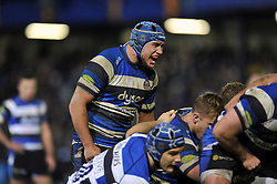 Leroy Houston of Bath Rugby shouts out encouragement at a scrum - Photo mandatory by-line: Patrick Khachfe/JMP - Mobile: 07966 386802 12/12/2014 - SPORT - RUGBY UNION - Bath - The Recreation Ground - Bath Rugby v Montpellier - European Rugby Champions Cup