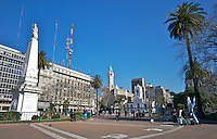 Plaza de Mayo in Buemos Aires, Argentina, is the most important plaza, and a national landmark, it is the place of reunion for most political meetings. In the bcakround the historical Cabildo.
