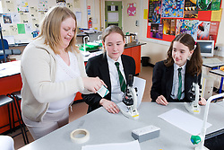Teacher preparing slides with students in a science lesson,