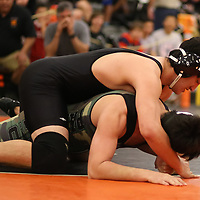 Michael Wiley of Los Gatos in the 2018 SCVAL Wrestling Finals (220 lb)(Photo by Bill Gerth)
