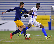University of Missouri - Kansas City player Gustavo Leal Murtha (left) and St. Louis University forward Patrick Weah vie for the ball. St. Louis University played the University of Missouri - Kansas City in men's soccer on February 3, 2021 at Robert Hermann Stadium on the SLU campus in St. Louis, MO.<br /> Tim Vizer/For the Post-Dispatch