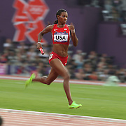 DeeDee Trotter, USA, in action during the Women's 4 X 400m Heats at the Olympic Stadium, Olympic Park, during the London 2012 Olympic games. London, UK. 10th August 2012. Photo Tim Clayton