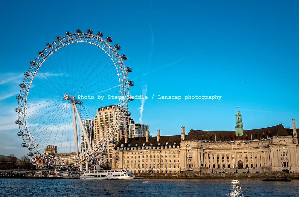 The London Eye and County Hall, Lambeth, London, England - 04 April 2021