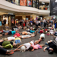 Extinction Rebellion staging a peaceful 'Die in' demonstration at the Melbourne Central Shopping Centre. March 04 – 2019, Melbourne Australia.
