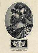 """Themistocles (""""Glory of the Law"""" c. 524–459 BC) was an Athenian politician and general. He was one of a new breed of non-aristocratic politicians who rose to prominence in the early years of the Athenian democracy. As a politician, Themistocles was a populist, having the support of lower-class Athenians, and generally being at odds with the Athenian nobility. Elected archon in 493 BC, he convinced the polis to increase the naval power of Athens, a recurring theme in his political career. During the first Persian invasion of Greece he fought at the Battle of Marathon (490 BC) and was possibly one of the ten Athenian strategoi (generals) in that battle. Copperplate engraving From the Encyclopaedia Londinensis or, Universal dictionary of arts, sciences, and literature; Volume VIII;  Edited by Wilkes, John. Published in London in 1810."""