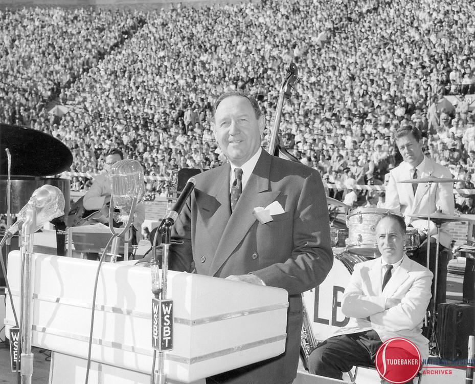 New Studebaker-Packard President James Nance at the Studebaker-Packard merger rally at Notre Dame Stadium, October 1954.