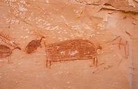Barrier style pictographs at Horseshoe Gallery site, Horseshoe Canyon, Canyonlands National Park Utah