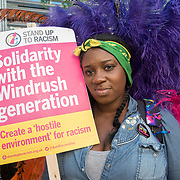 Children of The Windrush Generation UK born out to stand and fights of the racist systematic injustice against their parent and grandparent of the Windrush Generation rally in downing street and march to the Home Office protest demand full amnesty on 5 May 2018, London, UK.