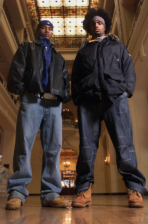(SPORTS)  West Long Branch 2/27/2002   L-R Monmouth University basketball players Cameron Milton and Steve Bridgemohan pose for a candid on campus photo in Wilson Hall.   Michael J. Treola Staff Photographer...MJT